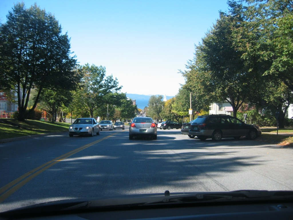 On the way to downtown Burlington and Lake Champlain